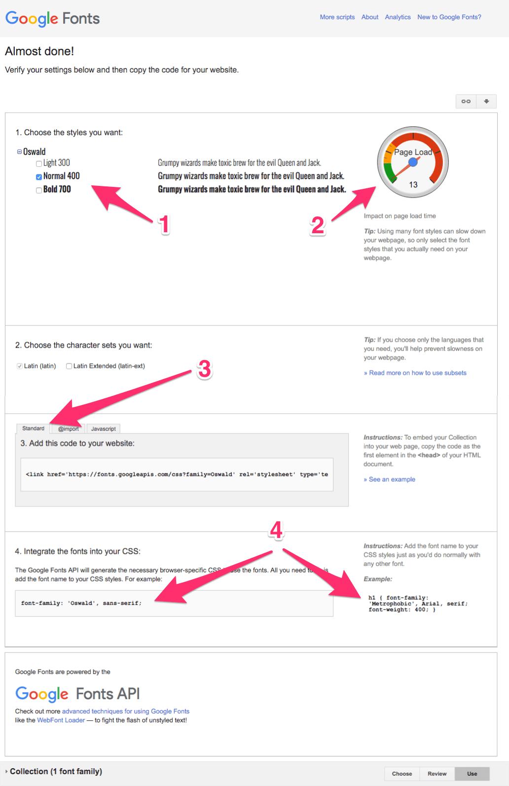 Google Fonts Select Options
