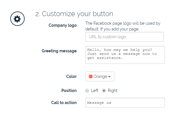 """Screen shot of """"Customize the button"""" section on whatshelp.io"""